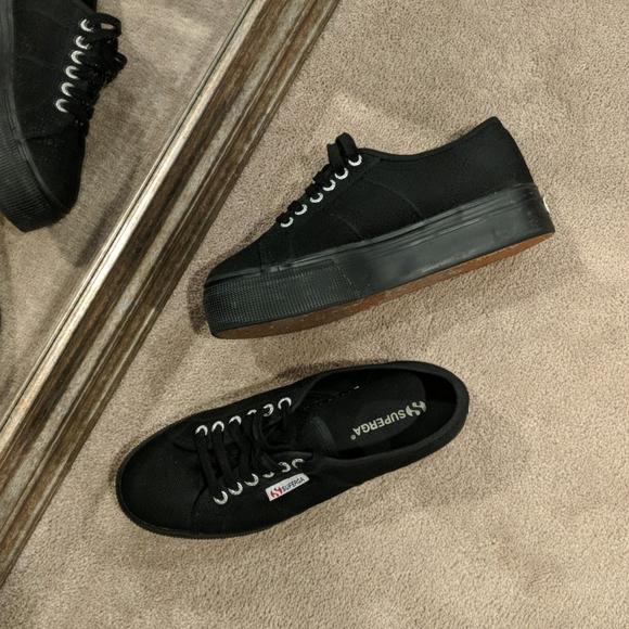 Superga Black Platform Canvas Shoe Size